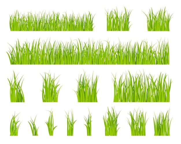 Set di erba verde Vettore Premium