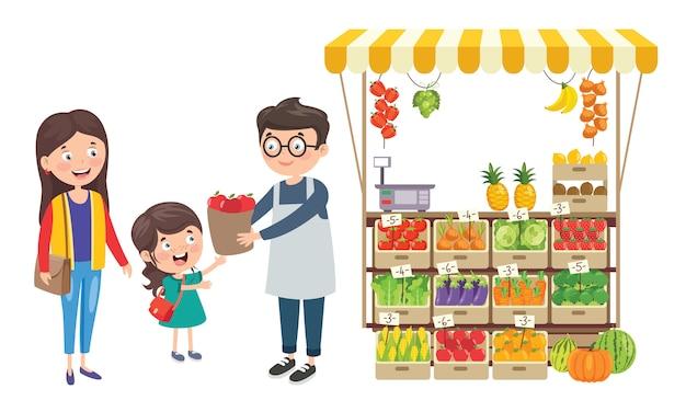 Negozio di generi alimentari verde con vari frutti e verdure