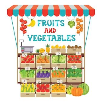Negozio di generi alimentari verde con vari frutti e verdure Vettore Premium