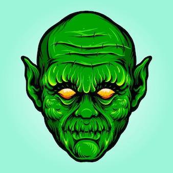 Green head monster isolato halloween illustrazioni vettoriali per il tuo lavoro logo, t-shirt di merce mascotte, adesivi e disegni di etichette, poster, biglietti di auguri pubblicitari società o marchi.