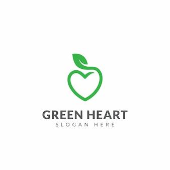 Modello di disegno di vettore di logo di cuore verde con forma di cuore e foglia