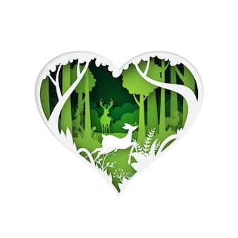 Cuore verde dello stile di arte della carta di concetto della natura fauna selvatica di cervo nel fondo verde della foresta
