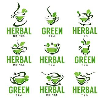 Tè verde, a base di erbe, biologico, disegno del modello di logo vettoriale