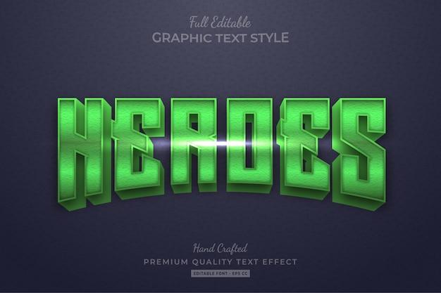 Stile carattere testo modificabile di green heroes movie
