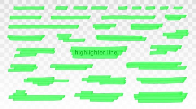 Insieme di modelli di linee di evidenziatore verde