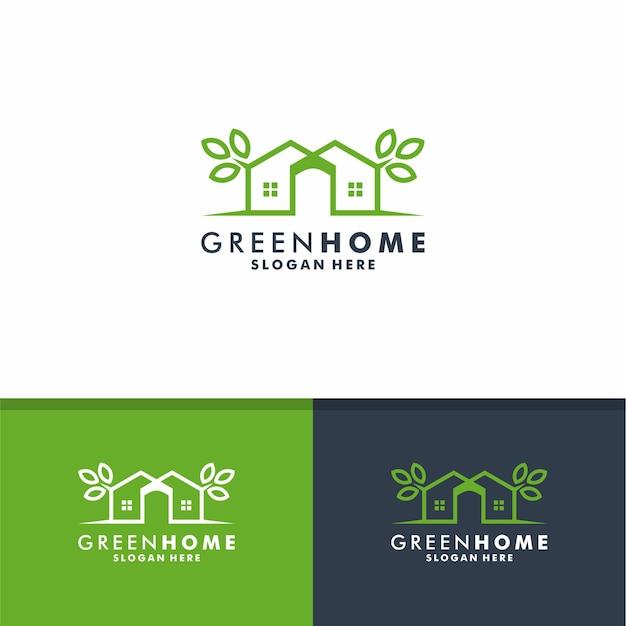Disegno del logo della casa verde, vettore dell'icona della natura della casa