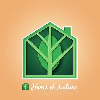 Casa verde, con, foglia verde, in, natura, fondo., ecologia, e, conservazione ambiente, concept., arte carta, vettore.
