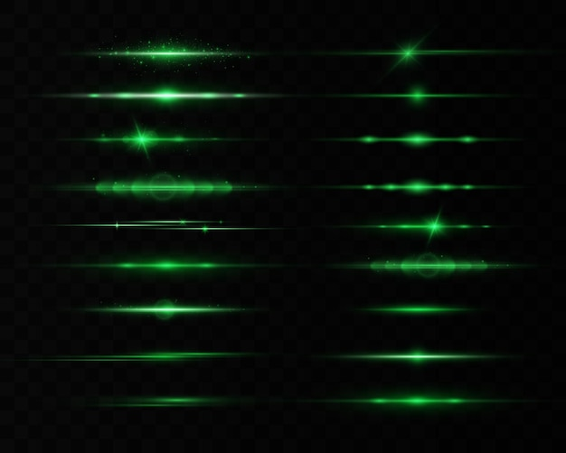 Set di razzi di lenti orizzontali verdi, raggi laser