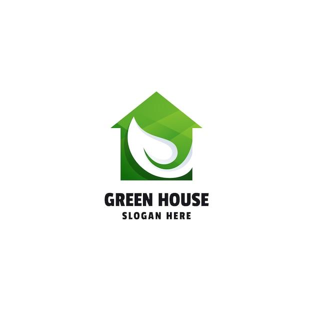 Modello di logo colorato sfumato green house