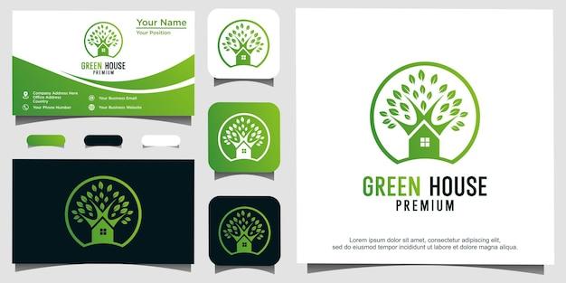 Design del logo della casa delle foglie della serra ispirazione