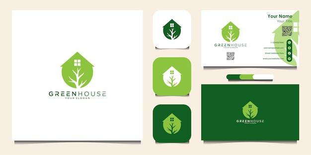 Modello di progettazione del logo della casa verde e biglietto da visita vettore premium