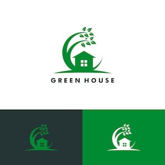 Modello di logo di casa verde