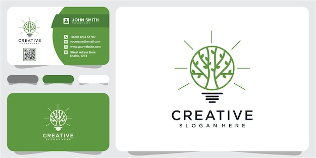 Idea verde lampadina foglia natura energia icona logo design. foglia ecologica, logo della natura con biglietto da visita
