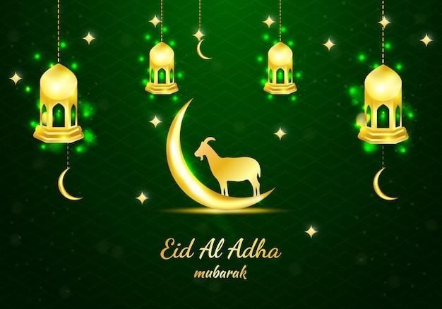 Fondo islamico verde dell'insegna dell'illustrazione di festival di eid al adha di vettore con la capra
