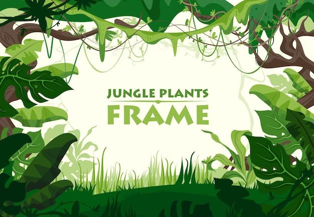 Cornice di piante della giungla verde