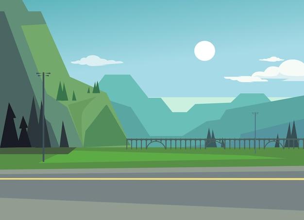 Paesaggio verde con colline e alberi