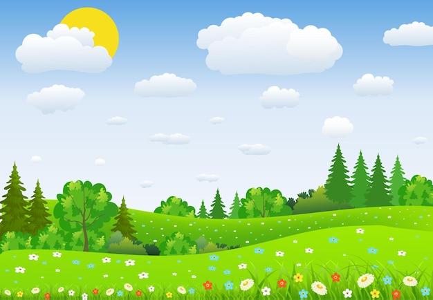 Paesaggio verde con alberi nuvole fiori