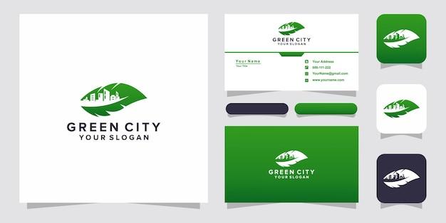 Logo e biglietto da visita della città a foglia verde