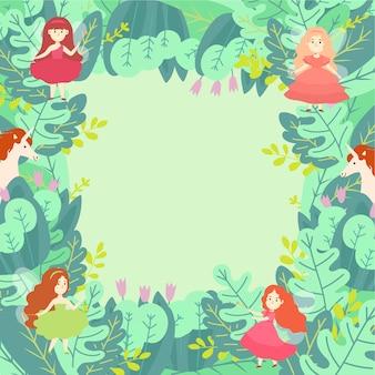 Illustrazione rotonda di concetto del modello verde delle composizioni nella foglia verde. unicorno stregone e personaggio magico fata.