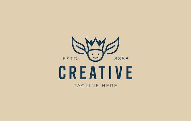 Foglia verde natura re logo design pianta sana re illustrazione