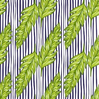 Modello senza cuciture foglia verde su sfondo di linee. ornamento di foglie. sfondo di fogliame.
