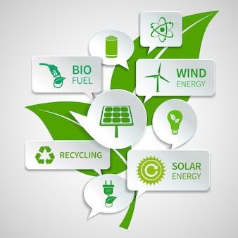 Foglio verde con le energie rinnovabili