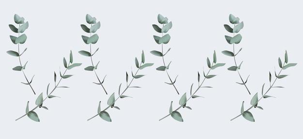Collezione di elementi di foglie verdi per composizioni di ghirlande di inviti di nozze di mazzi