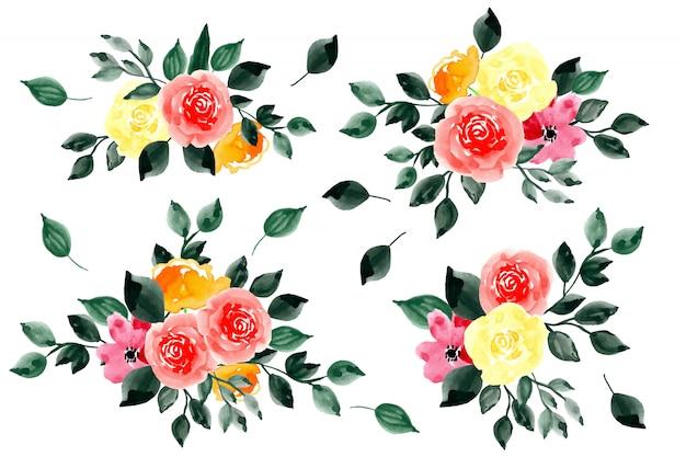 Raccolta dell'acquerello delle foglie verdi e della disposizione dei fiori
