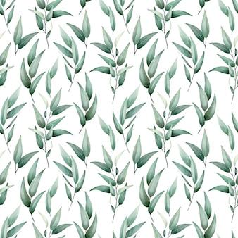 Modello senza cuciture dell'acquerello delle foglie verdi disegno vettoriale disegnato a mano di alta qualità