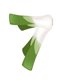 Porro verde numero 7 stile cibo vegetale fumetto design piatto illustrazione vettoriale
