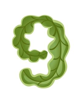 Lattuga verde numero 9 stile cibo vegetale cartone animato design piatto illustrazione vettoriale
