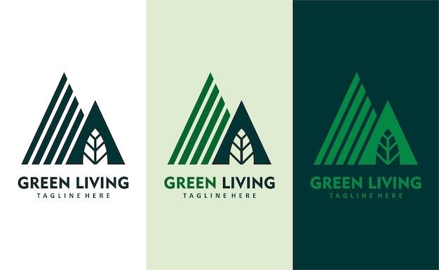 Vettore di progettazione del logo dell'azienda ecosostenibilità vivente verde