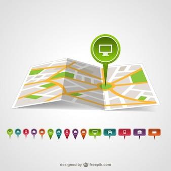 Map pin template vector