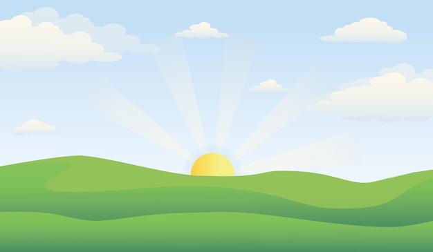 Paesaggio di prato verde con l'alba all'orizzonte