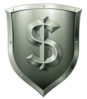 Schermo in metallo verde con segno di dollaro isolato su bianco