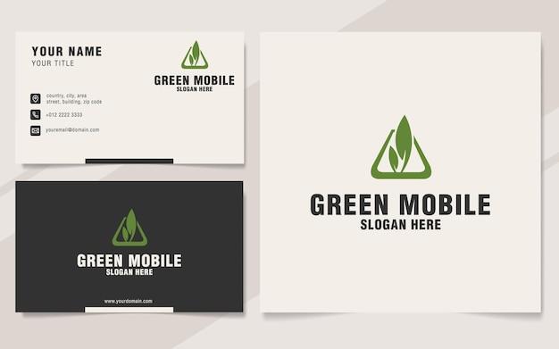 Modello di logo mobile verde su stile monogramma