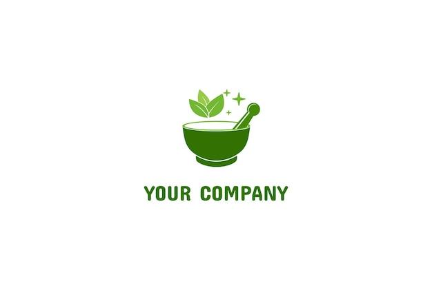 Mortaio verde e pestello con foglie di foglie per la medicina di erbe logo design vector