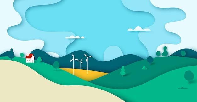 Paesaggio verde del paesaggio della foresta della natura con la casa nello stile di arte della carta del fondo dell'insegna della campagna. .