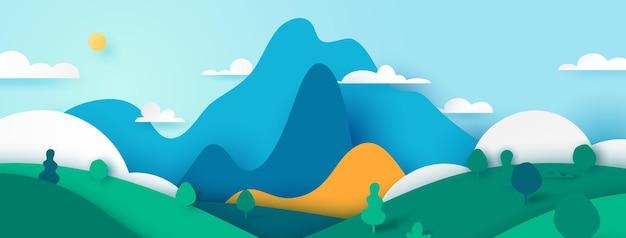 Illustrazione di stile di arte di carta dell'insegna di paesaggio di paesaggio della natura verde.