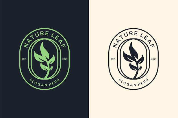 Design del logo vintage foglia verde natura