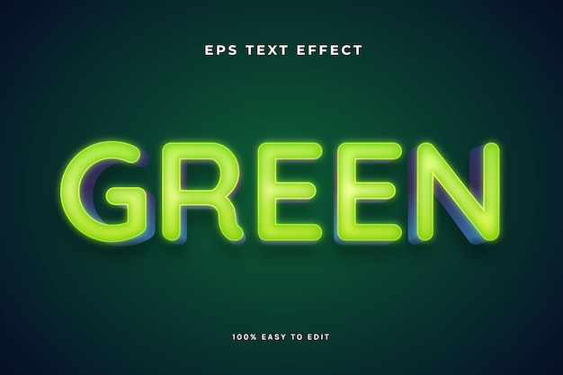 Effetti di testo con luce al neon verde