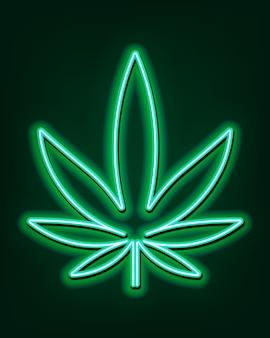 Insegna al neon verde delle foglie di marijuana. logo cannabis