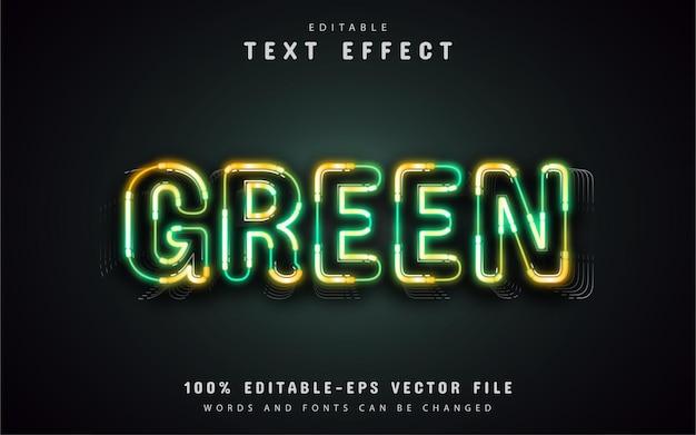 Effetto di testo al neon verde