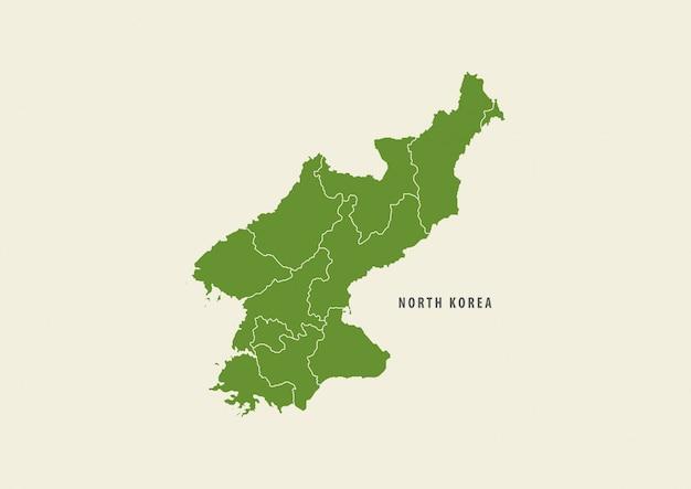 Mappa del dettaglio della mappa della corea del nord verde isolata su fondo bianco, concetto dell'ambiente