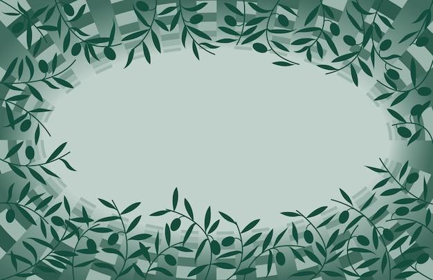 Oliva verde sul telaio del ramo, illustrazione vettoriale di un colore spot.