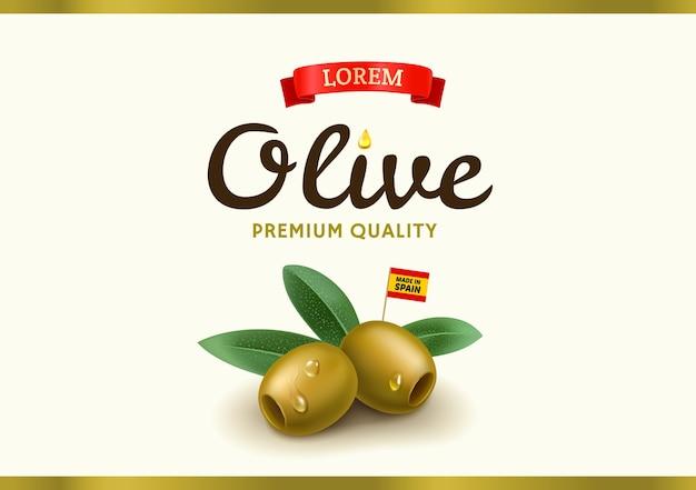 Etichetta verde oliva con oliva realistica, design per confezioni di olive in scatola e olio d'oliva. illustrazione