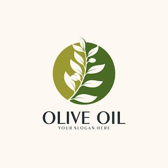 Modello logo olio d'oliva verde