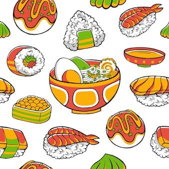 Modello senza cuciture di cibo giapponese verde e arancione in stile design piatto