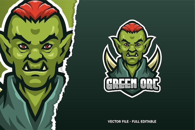 Green orc e-sport game logo modello