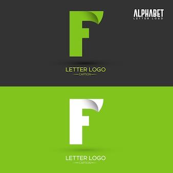 Logo della lettera f a forma di foglia verde a forma di origami